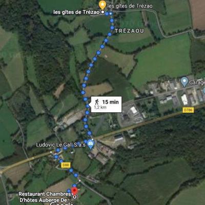 de Trezao à St jean à pied, 1,2 km un petit quart d'heure de marche !